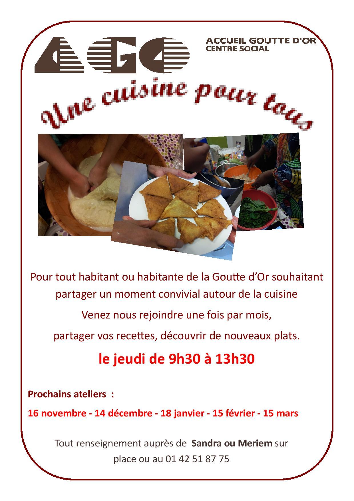 Atelier une cuisine pour tous - La cuisine pour tous ginette mathiot ...