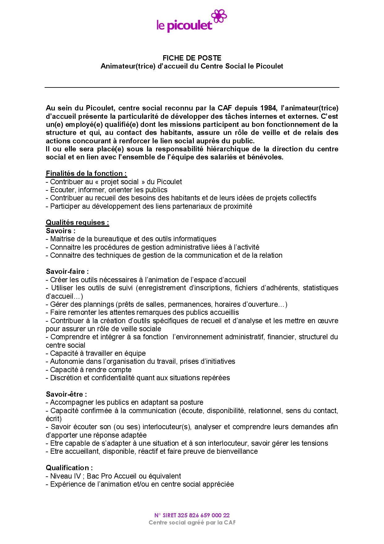 Assez Animateur(trice) d'accueil du Centre Social le Picoulet DU07